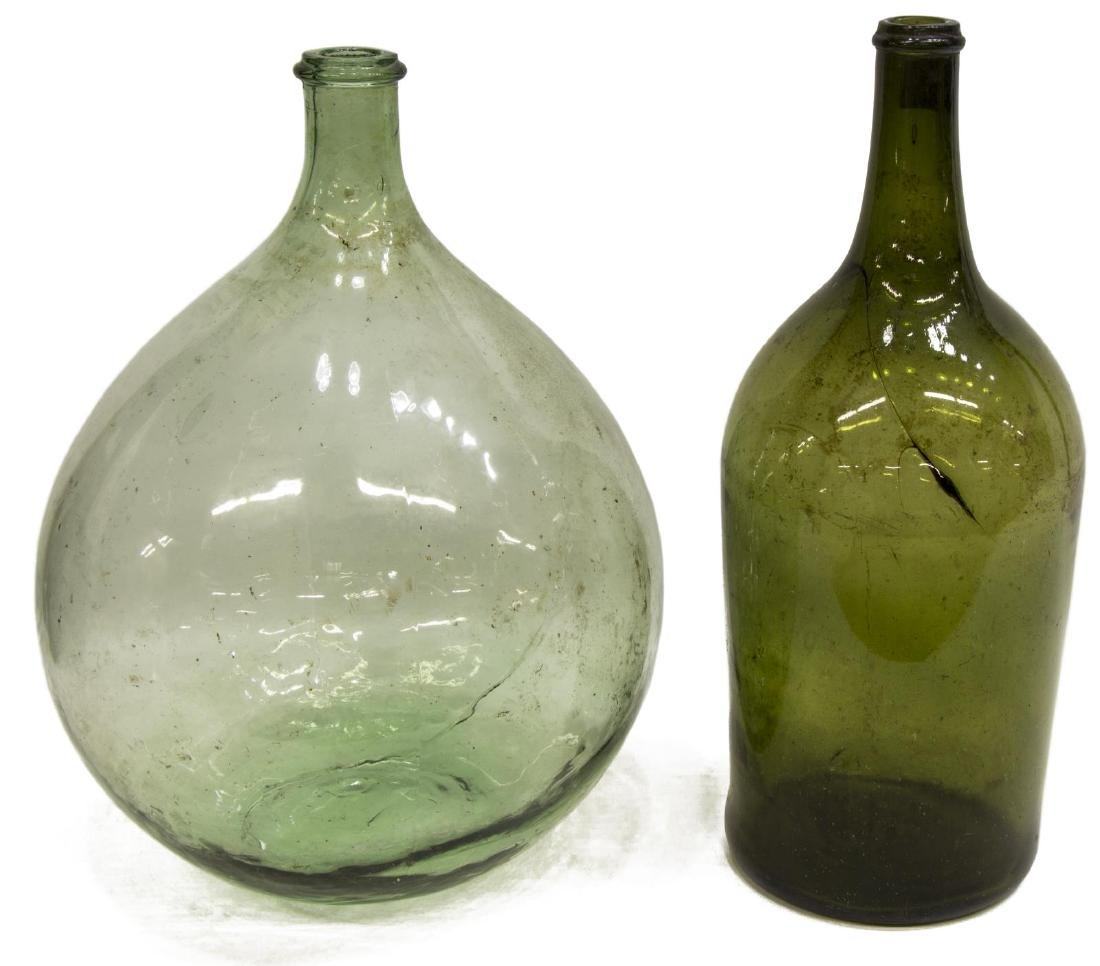 (2) FRENCH GREEN GLASS CARBOY WINE BOTTLES