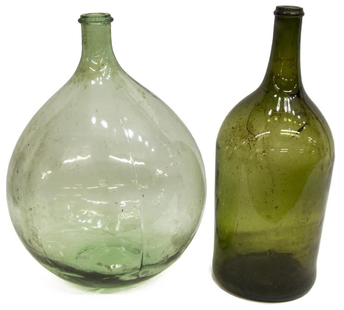 (2) FRENCH GREEN GLASS CARBOY WINE BOTTLES - 2
