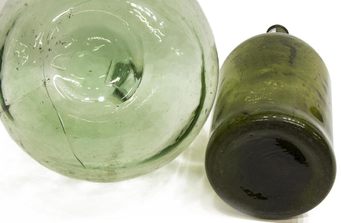 (2) FRENCH GREEN GLASS CARBOY WINE BOTTLES - 3