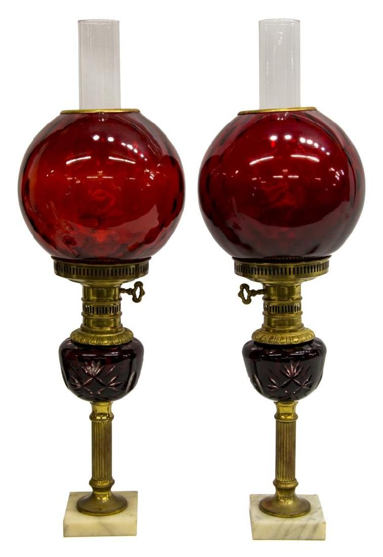 (2) VINTAGE VICTORIAN STYLE RUBY BANQUET LAMPS