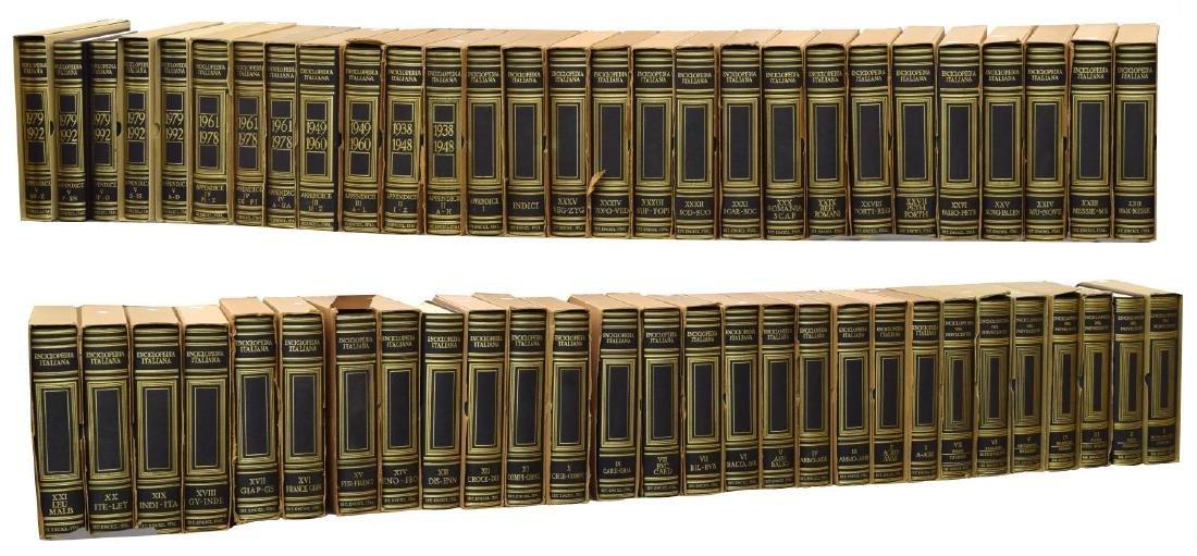 (55) ITALIAN LEATHER BOUND ENCYCLOPEDIAS BOOKS