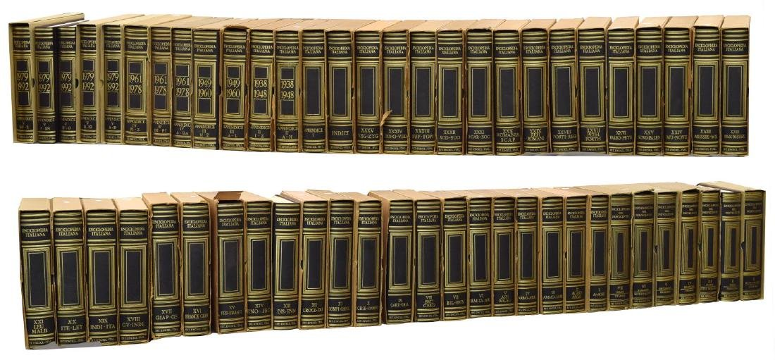 (55) ITALIAN LEATHER BOUND ENCYCLOPEDIAS BOOKS