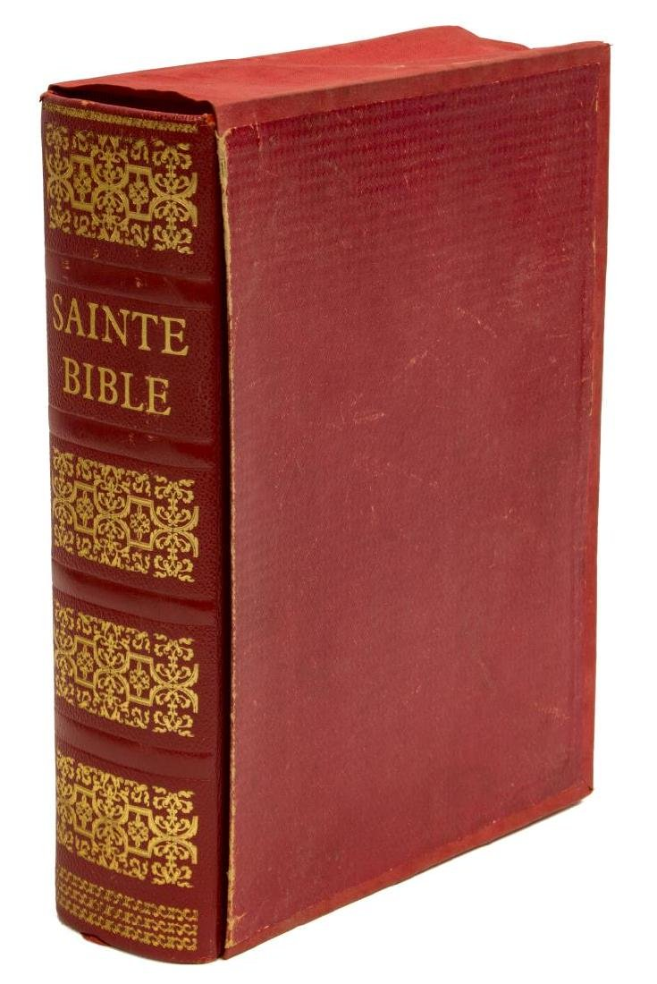 FRENCH BIBLE W/ GILT EMBOSSED RED LEATHER BINDING