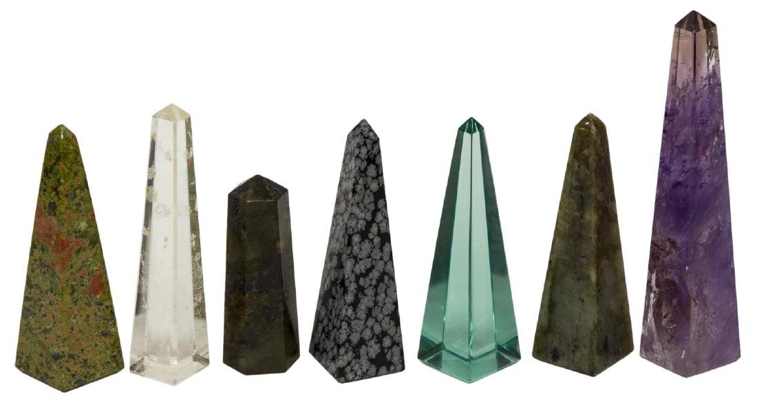 (36) OBELISK COLLECTION, MANY MINERALS & COLORS - 5