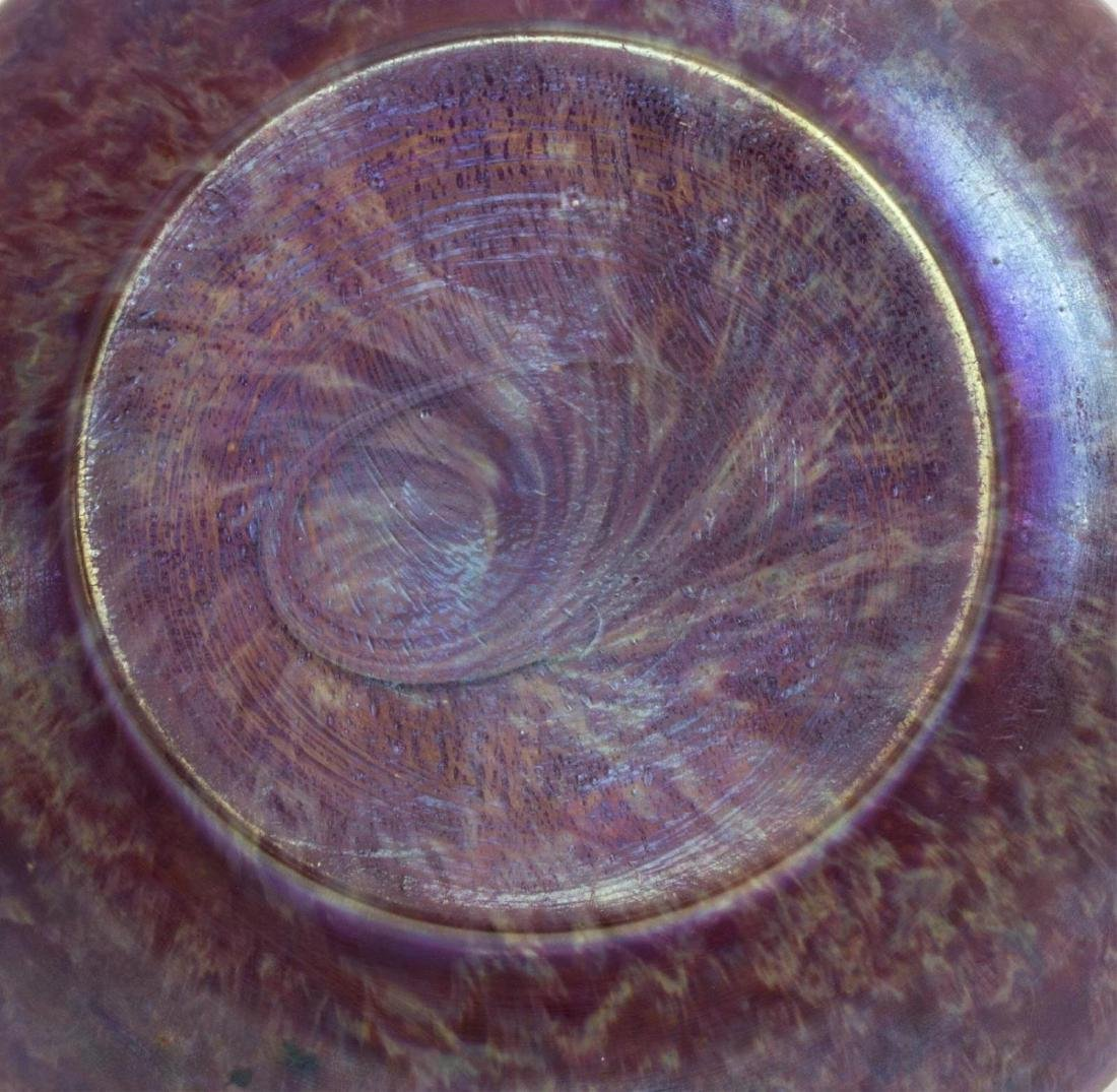ART NOUVEAU ART GLASS VASE SILVER METAL COLLAR - 2
