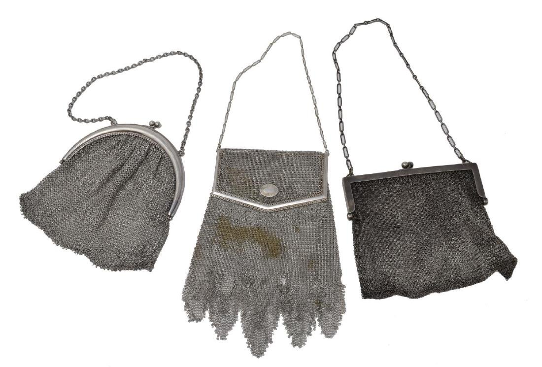 3) WHITING DAVIS & OTHER STERLING SILVER MESH BAGS