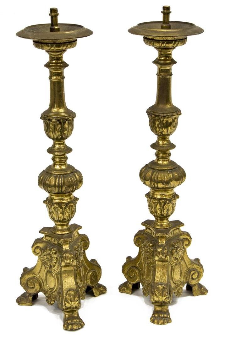(2) LOUIS XV STYLE BRONZE CANDLESTICK TABLE LAMPS