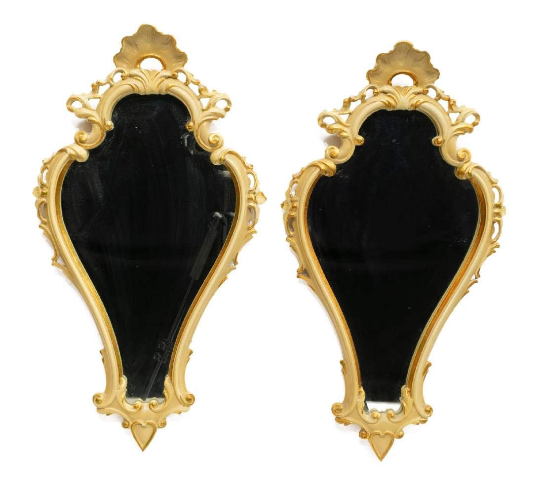 (2) VENETIAN LOUIS XV STYLE PAINTED WALL MIRRORS