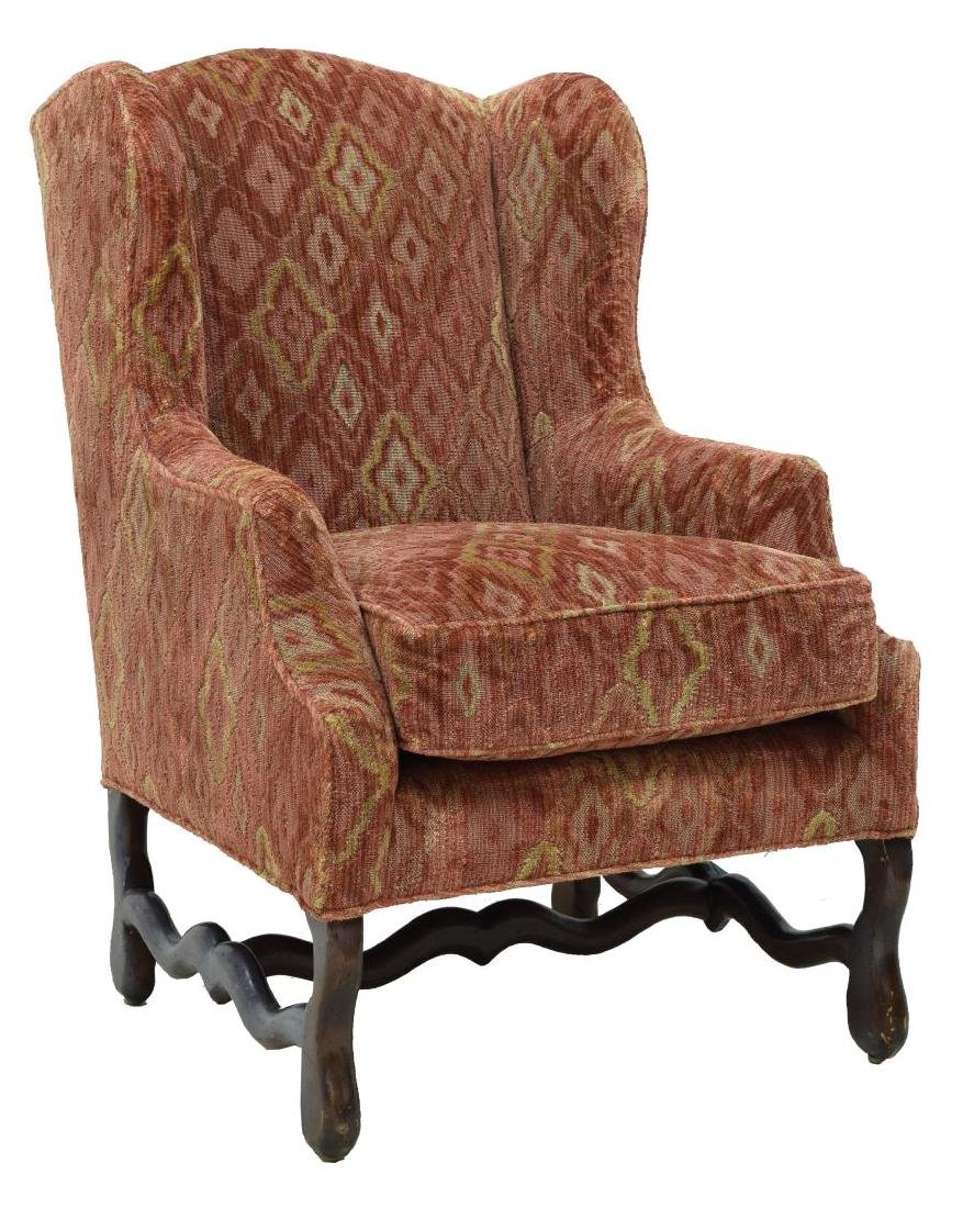 LOUIS XIII STYLE UPHOLSTERED WINGBACK ARMCHAIR