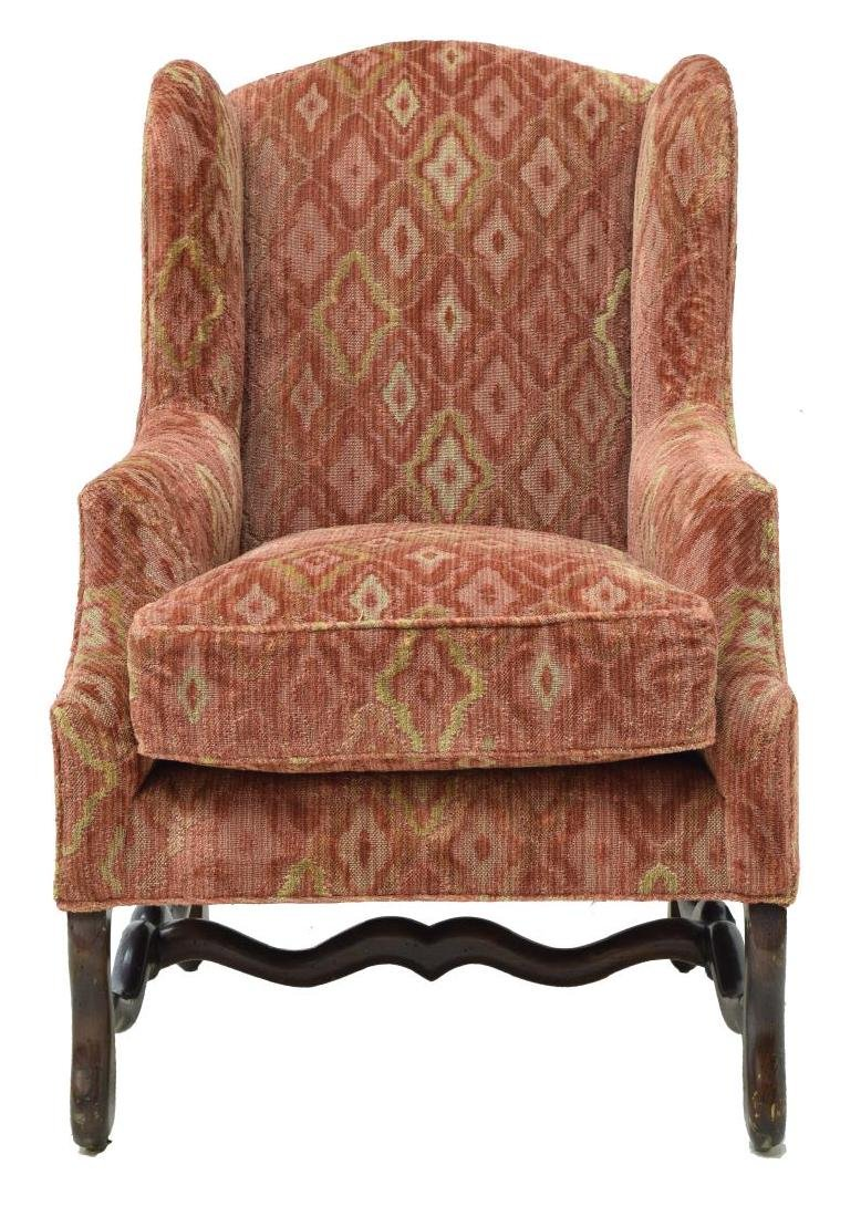 LOUIS XIII STYLE UPHOLSTERED WINGBACK ARMCHAIR - 2