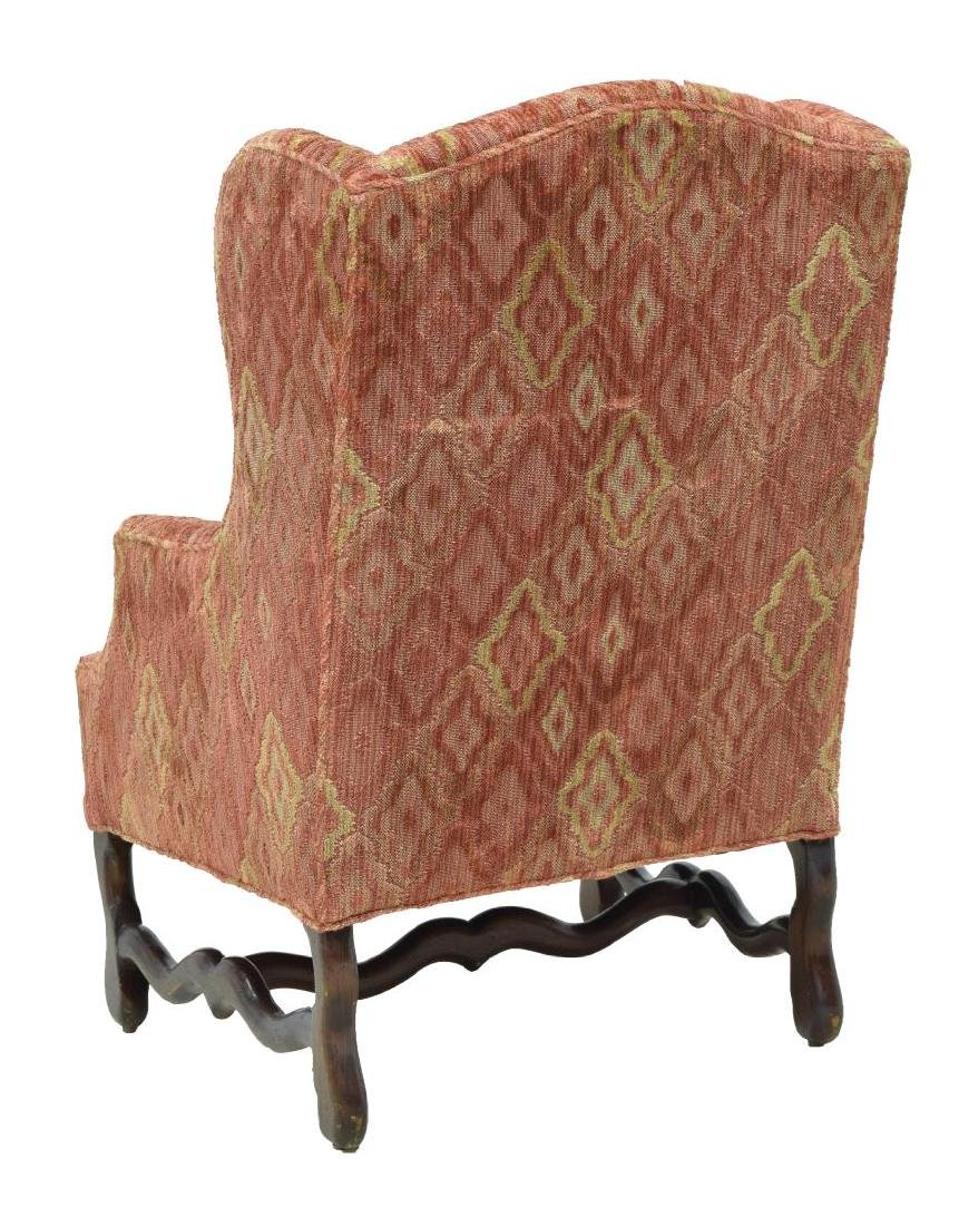 LOUIS XIII STYLE UPHOLSTERED WINGBACK ARMCHAIR - 3