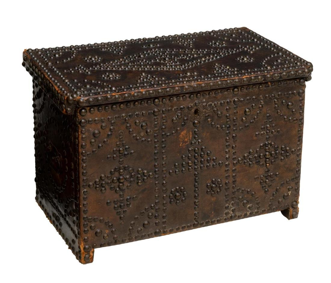 SPAIN LEATHER CLAD BRASS TACK STORAGE CHEST/ TRUNK