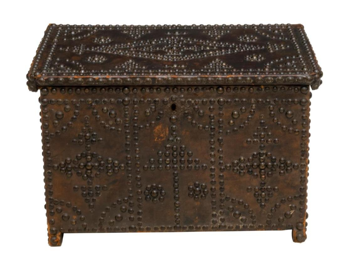 SPAIN LEATHER CLAD BRASS TACK STORAGE CHEST/ TRUNK - 2