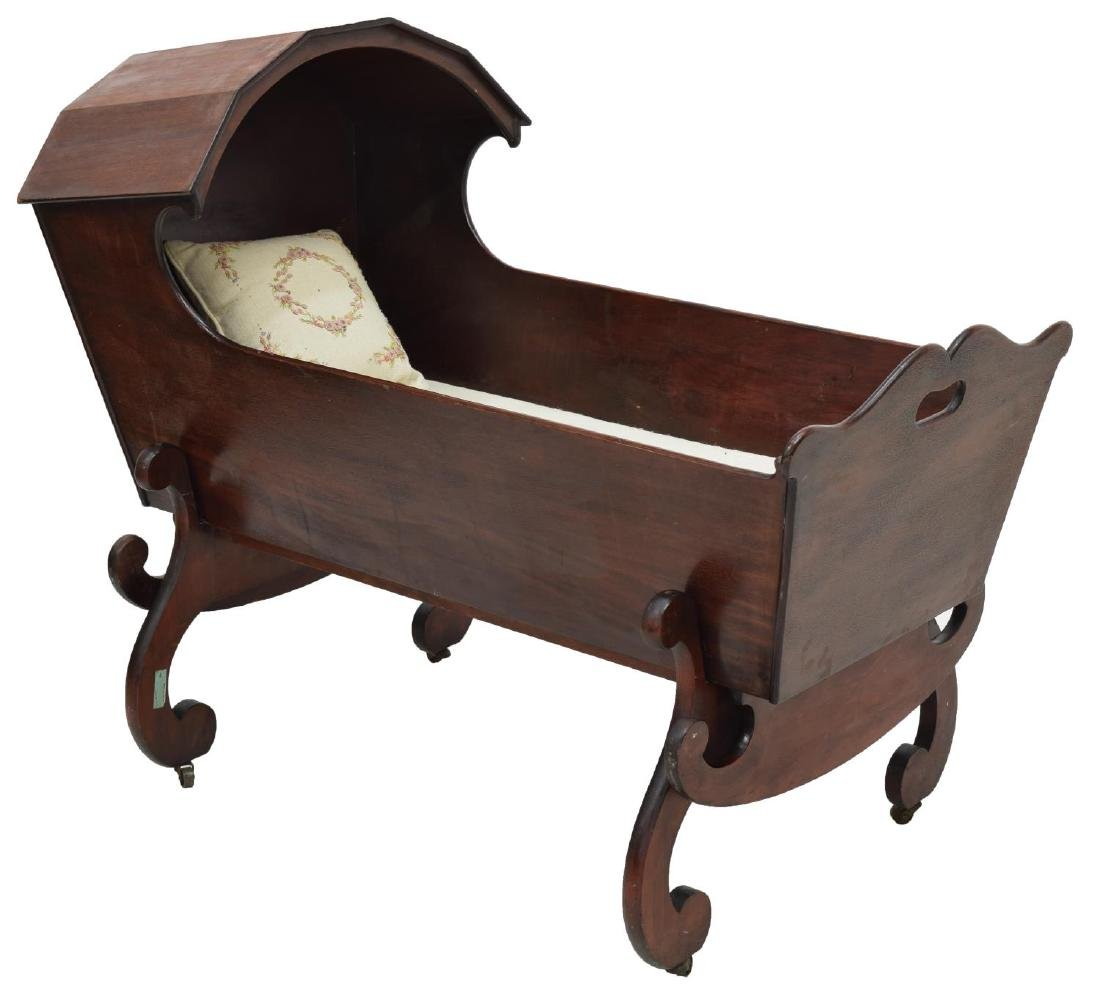 MAHOGANY HOODED CRADLE ON STAND