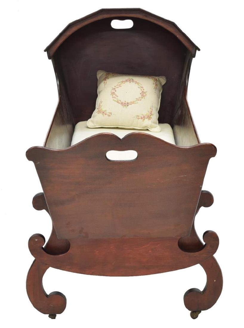 MAHOGANY HOODED CRADLE ON STAND - 3