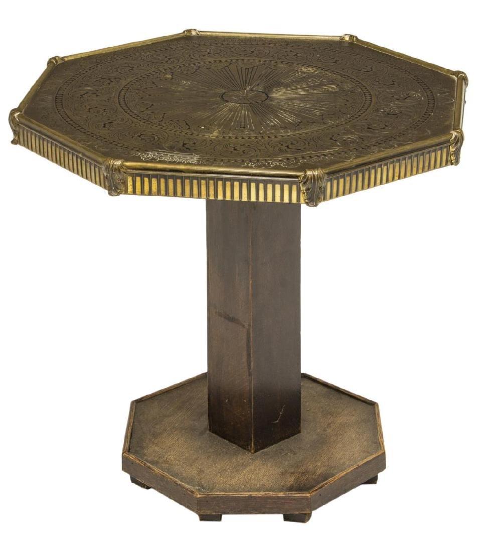 PEDESTAL SIDE TABLE WITH EMBOSSED METAL TOP