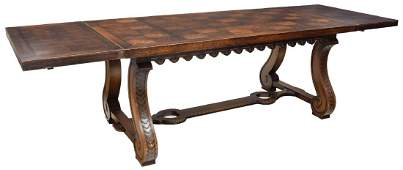 SPANISH BAROQUE STYLE OAK DINING TABLE