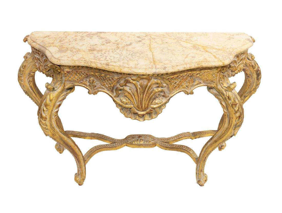 FRENCH MARBLE TOP GILT WOOD CONSOLE TABLE - 2