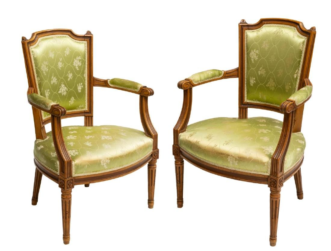 (2) FRENCH LOUIS XVI STYLE FAUTEUIL ARMCHAIRS