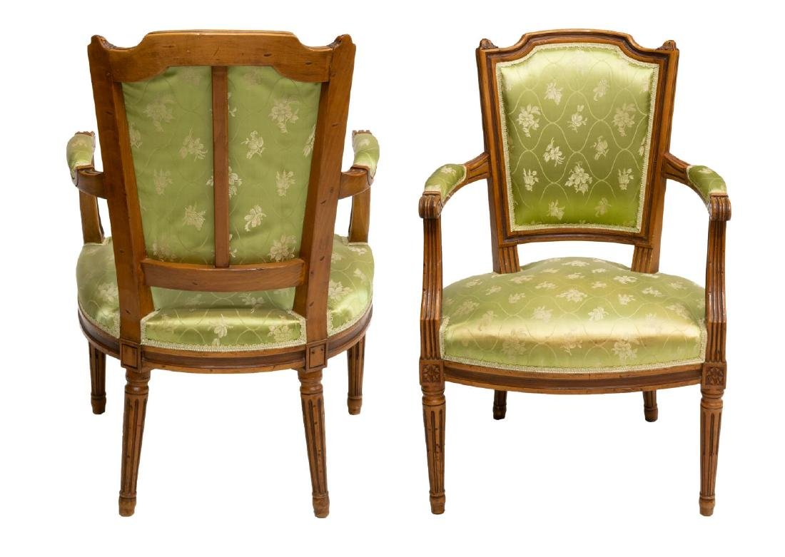 (2) FRENCH LOUIS XVI STYLE FAUTEUIL ARMCHAIRS - 2