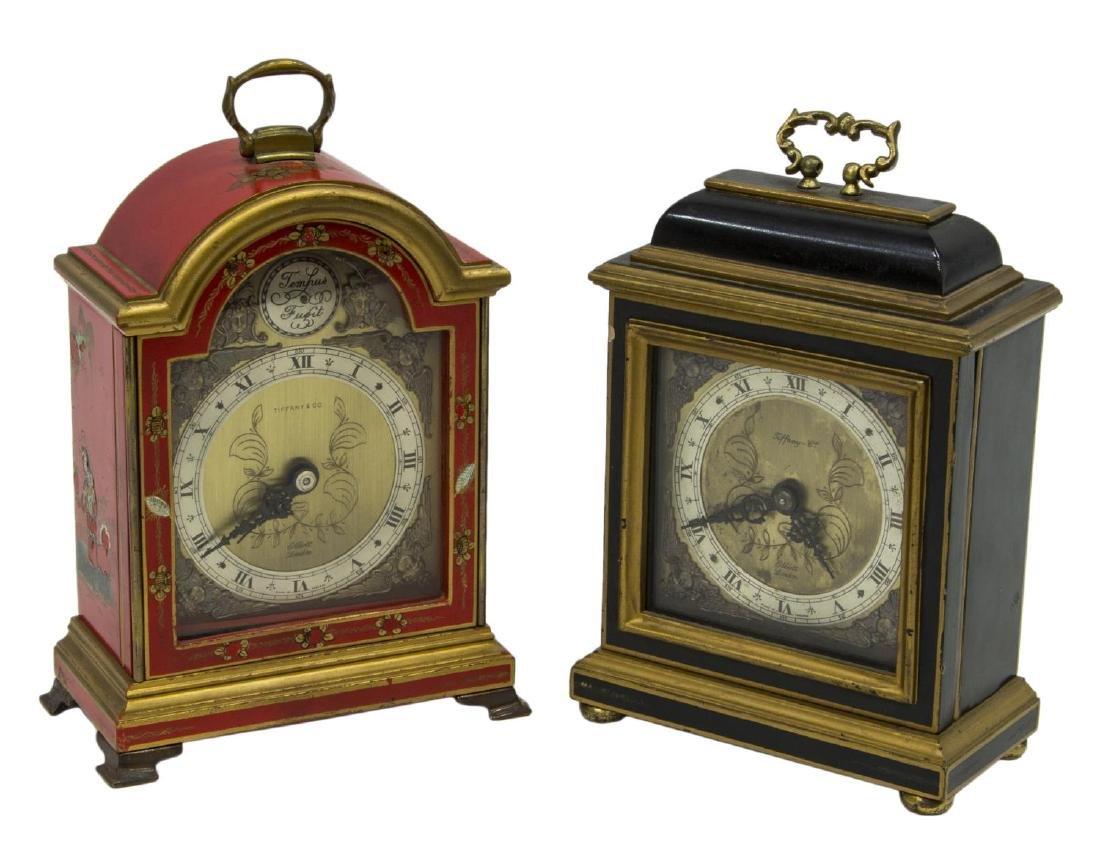 (2)TIFFANY & CO. MINIATURE BRACKET CLOCKS, OPERATE