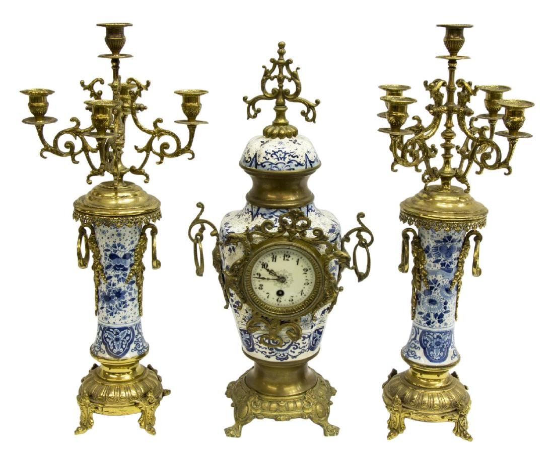 (3) FRENCH JAPY FRERES & CIE MANTEL CLOCK SET