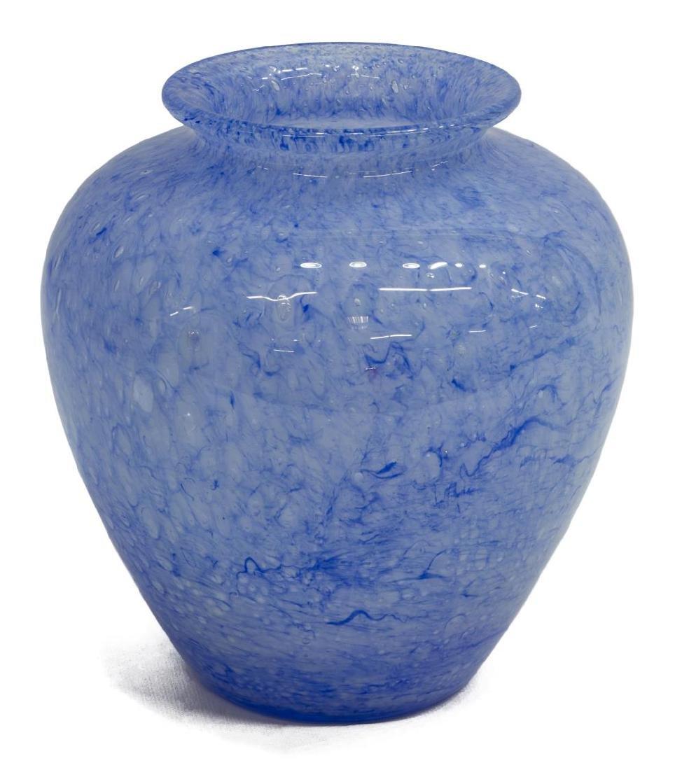 STEUBEN 'CLUTHRA' BLUE ART GLASS VASE - 2