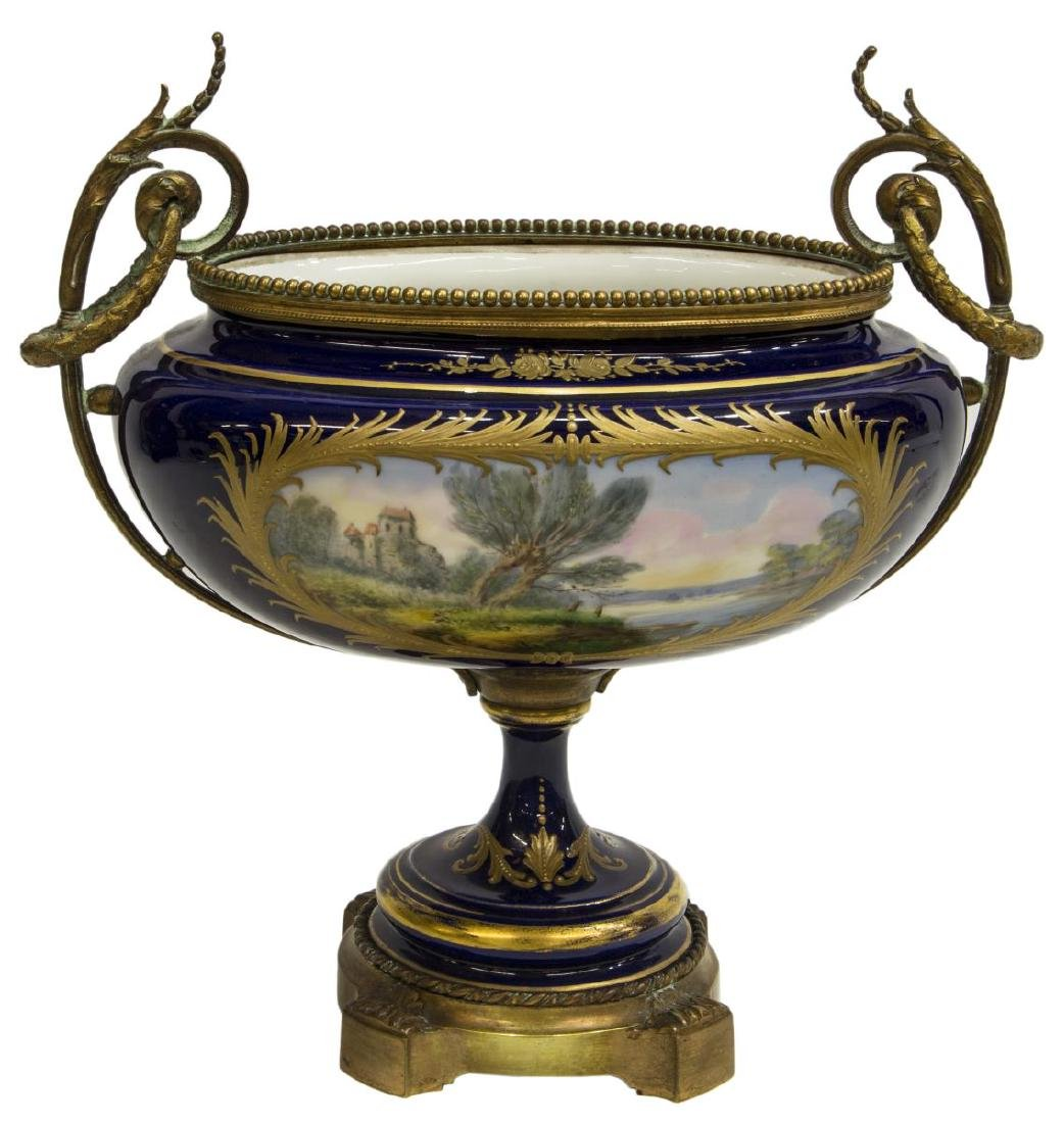 FRENCH SEVRES STYLE PORCELAIN CENTERPIECE - 2
