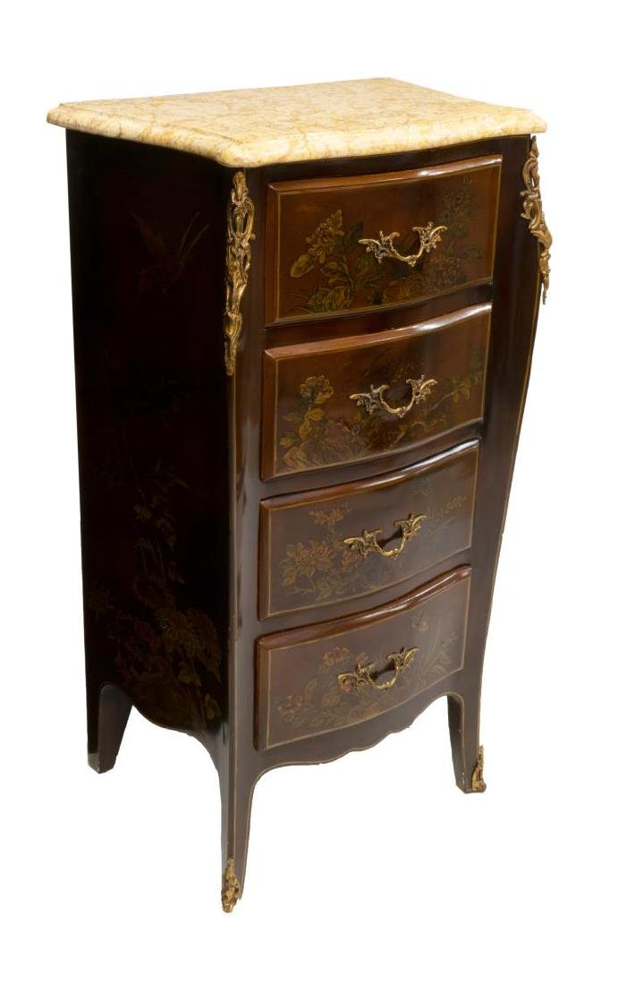 FRENCH CHINOISERIE MARBLE TOP CHEST - 2