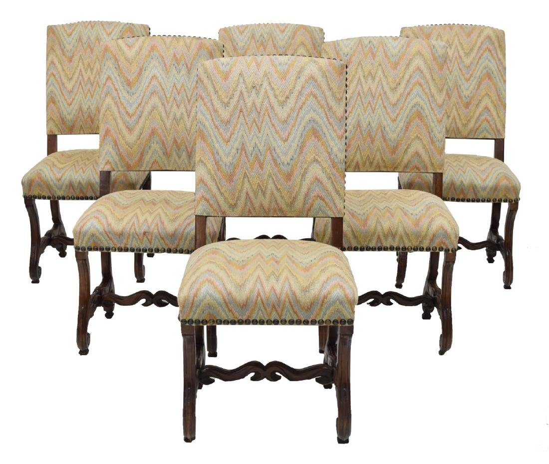 (6) SPANISH CARVED WALNUT UPHOLSTERED SIDE CHAIRS
