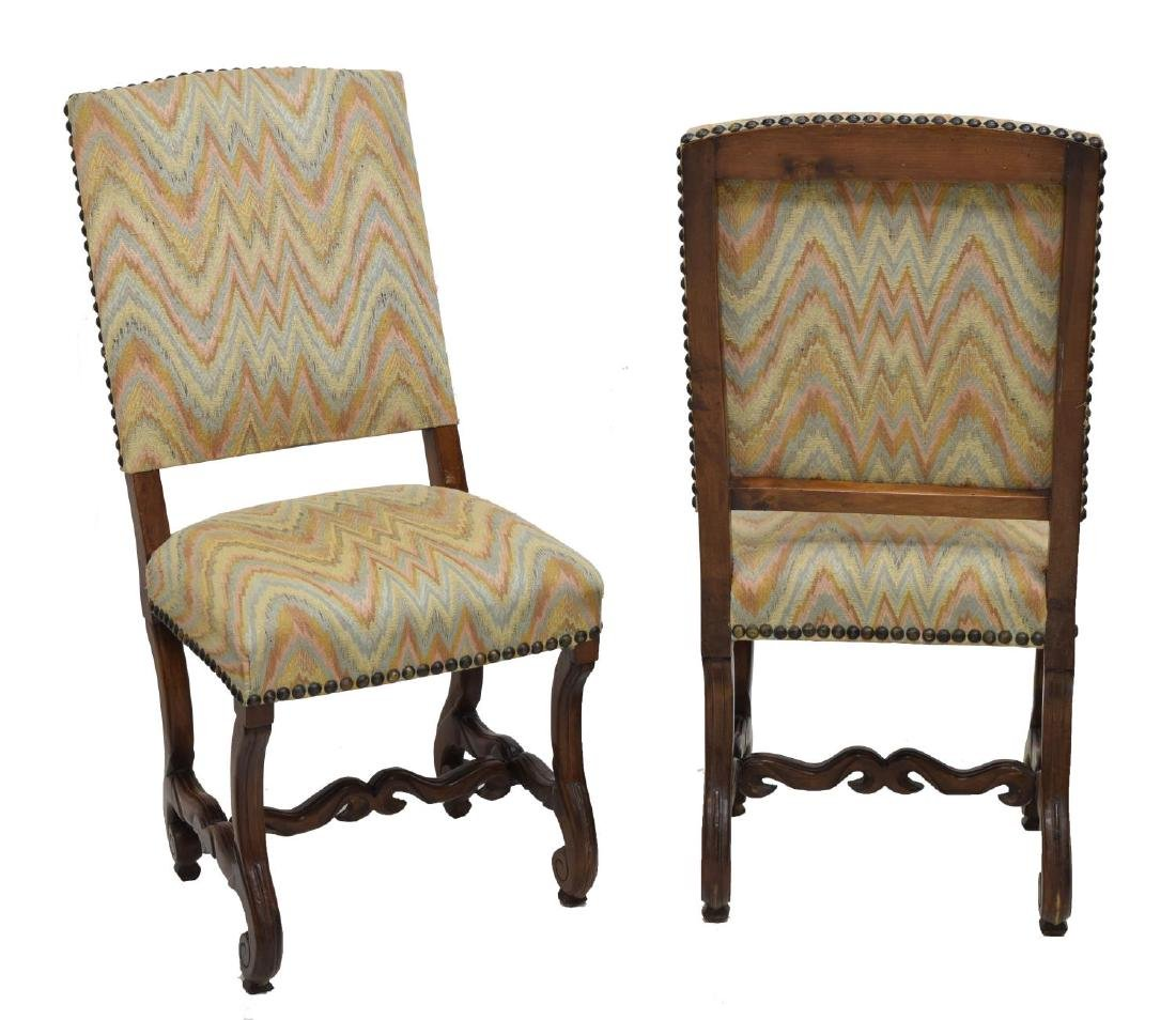 (6) SPANISH CARVED WALNUT UPHOLSTERED SIDE CHAIRS - 2