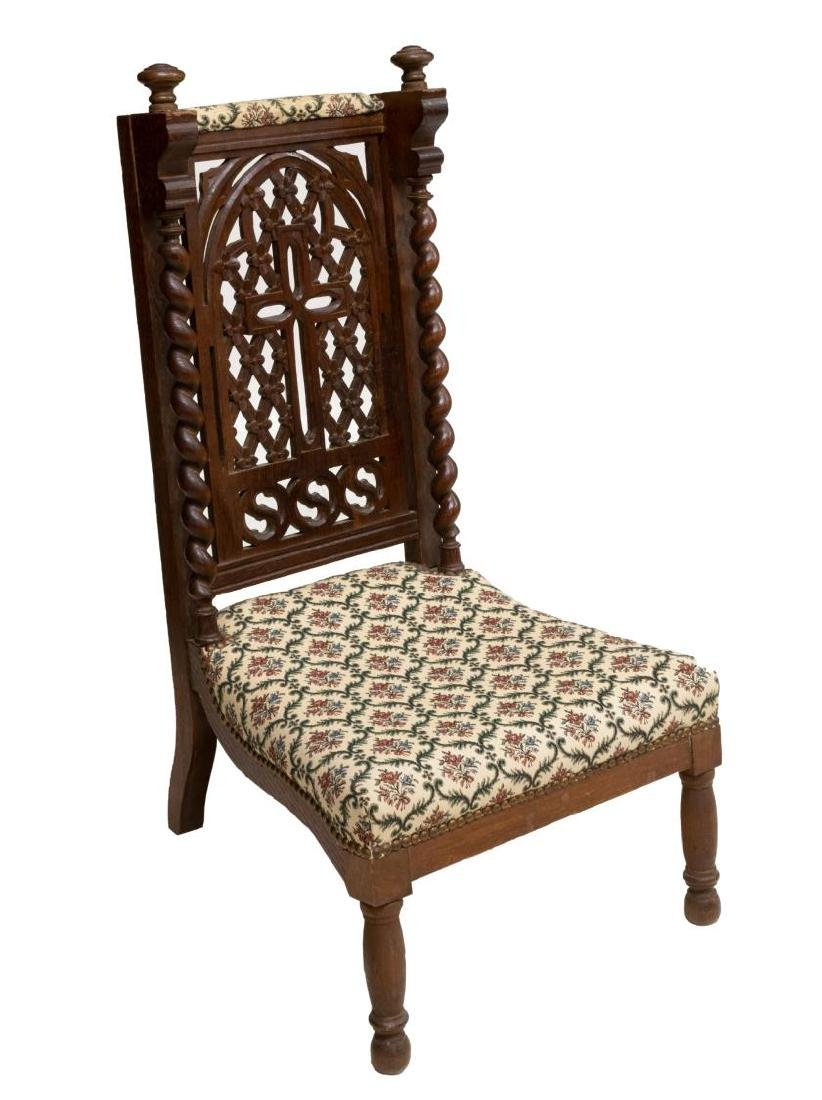 19TH C. FRENCH WELL CARVED OAK PRAYER CHAIR