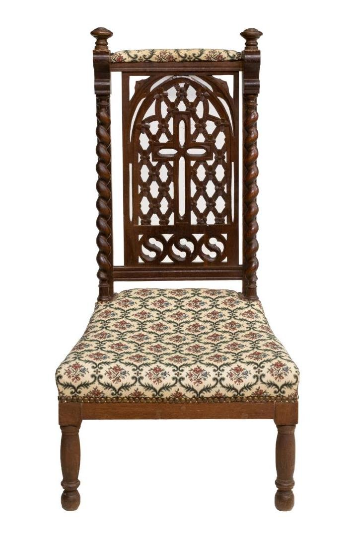 19TH C. FRENCH WELL CARVED OAK PRAYER CHAIR - 2