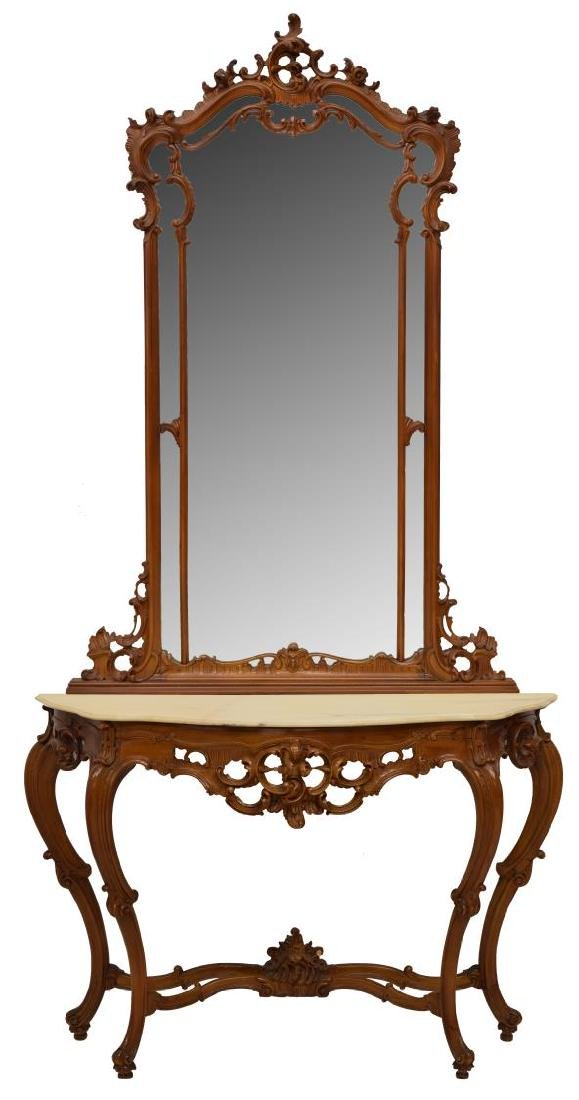 LOUIS XV STYLE MARBLE TOP COSOLE TABLE & MIRROR
