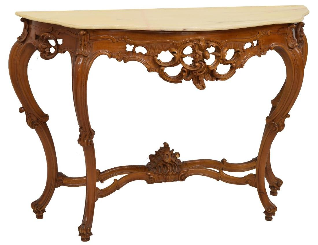 LOUIS XV STYLE MARBLE TOP COSOLE TABLE & MIRROR - 2