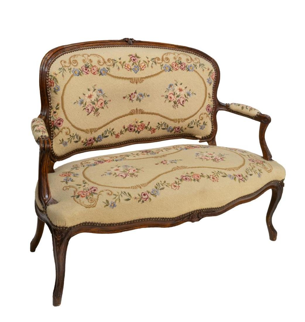 FRENCH LOUIS XV NEEDLE POINT TAPESTRY SETTEE