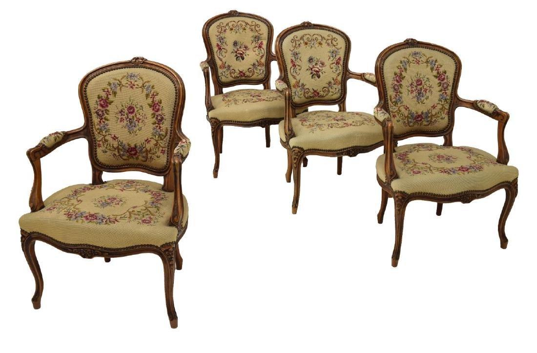 (4) FRENCH LOUIS XV STYLE TAPESTY ARM CHAIRS