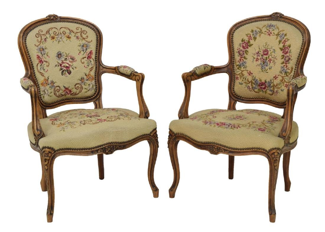 (4) FRENCH LOUIS XV STYLE TAPESTY ARM CHAIRS - 2