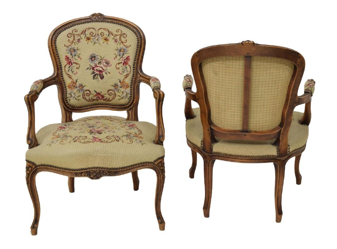 (4) FRENCH LOUIS XV STYLE TAPESTY ARM CHAIRS - 3