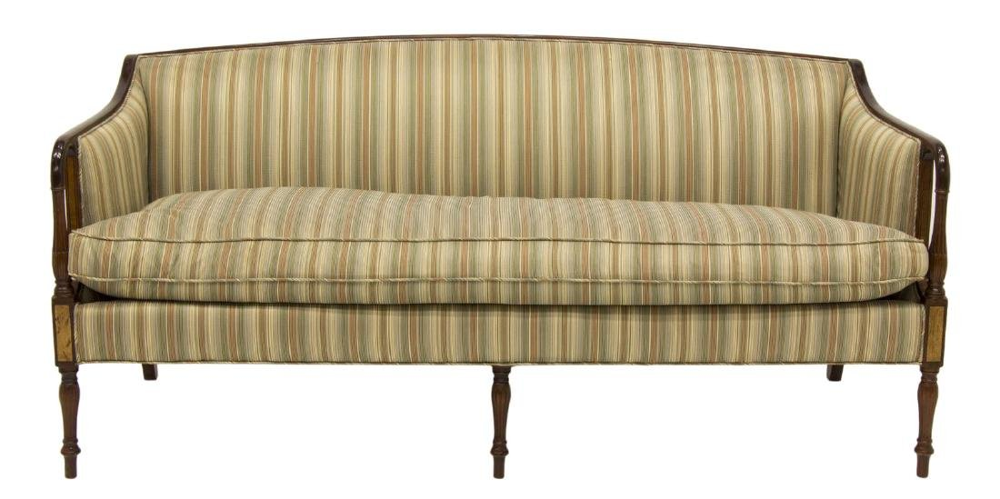 SHERATON STYLE UPHOLSTERED DOWN FILLED SOFA - 2
