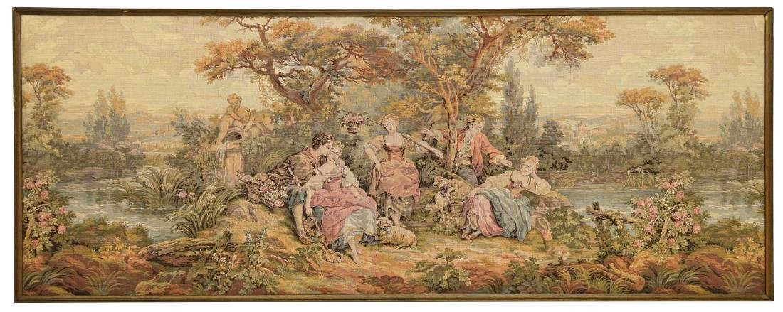 FRAMED CONTINENTAL WALL TAPESTRY OF PASTORAL SCENE