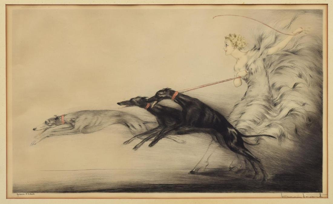 "LOUIS ICART ETCHING, ""UNIQUE VARIATIONS OF SPEED"""