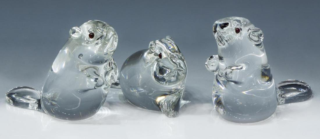 (3) SCARCE STEUBEN COLORLESS ART CRYSTAL BEAVERS
