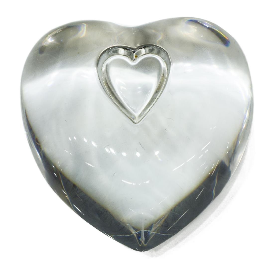 (2) STEUBEN GLASS SCULPTURES: SALMON, HEART - 4