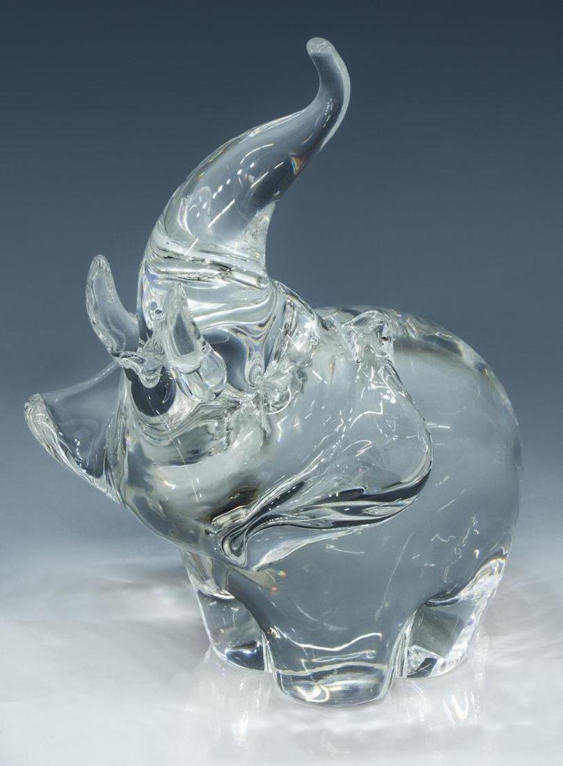 STEUBEN COLORLESS ART CRYSTAL GLASS ELEPHANT - 2