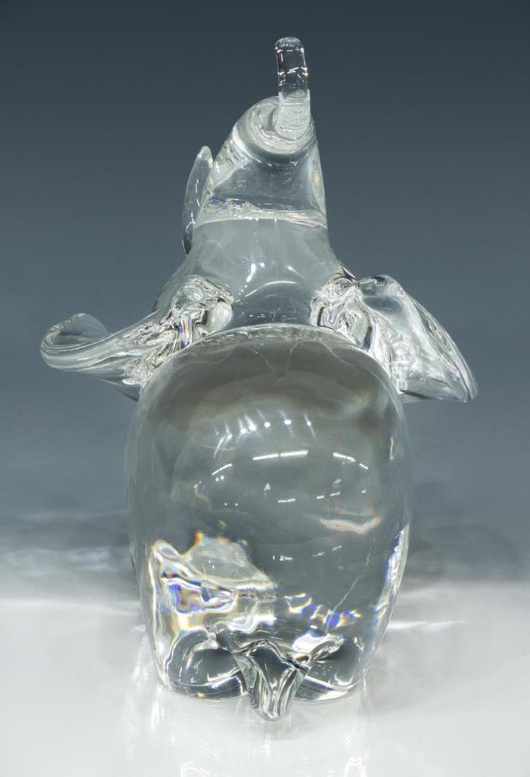 STEUBEN COLORLESS ART CRYSTAL GLASS ELEPHANT - 3
