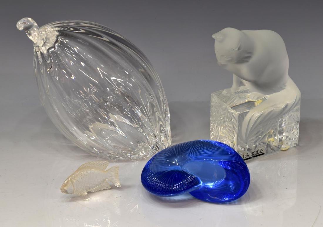 (4) LALIQUE, BACCARAT, & STEUBEN ART GLASS FIGURES