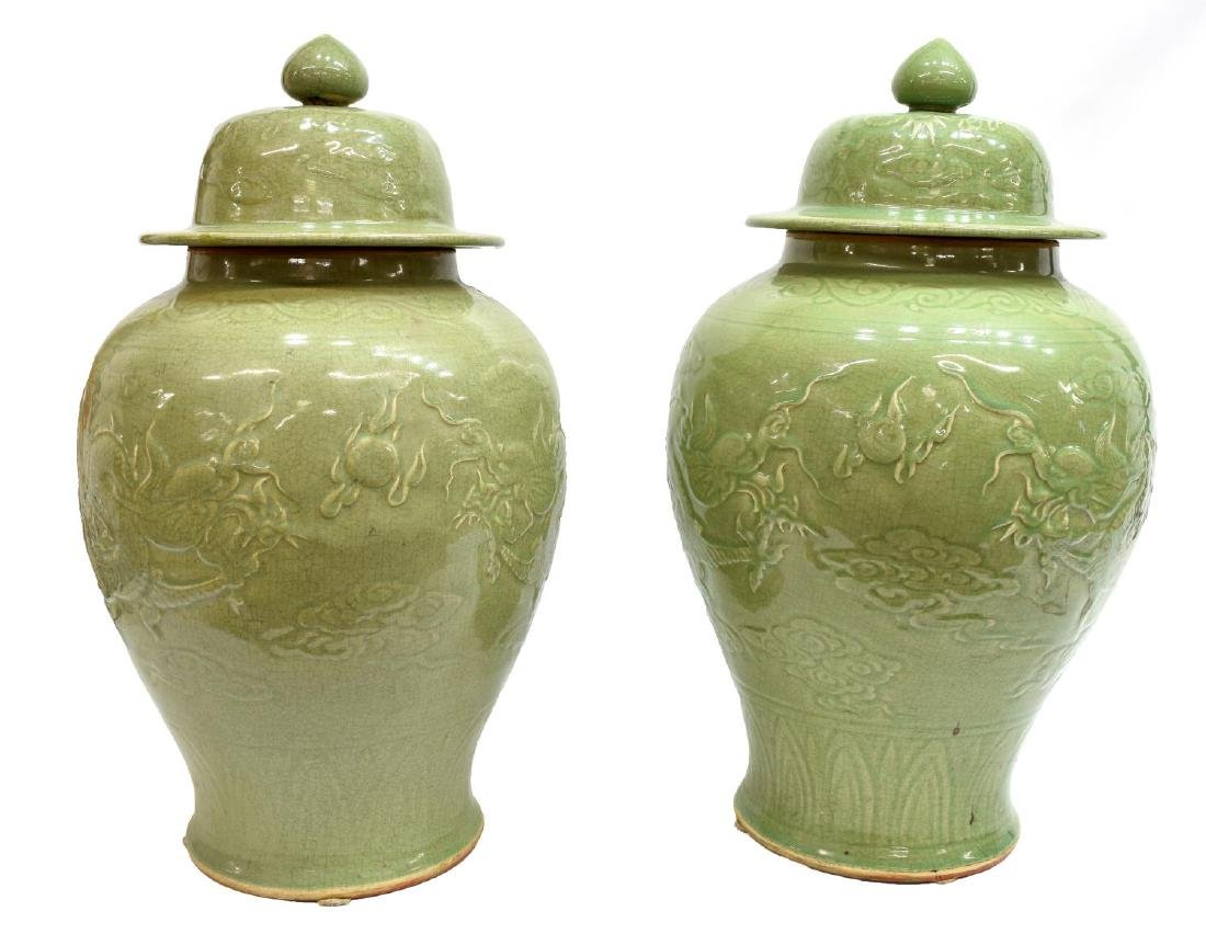 (2) LARGE CHINESE CELADON CERAMIC DRAGON JARS