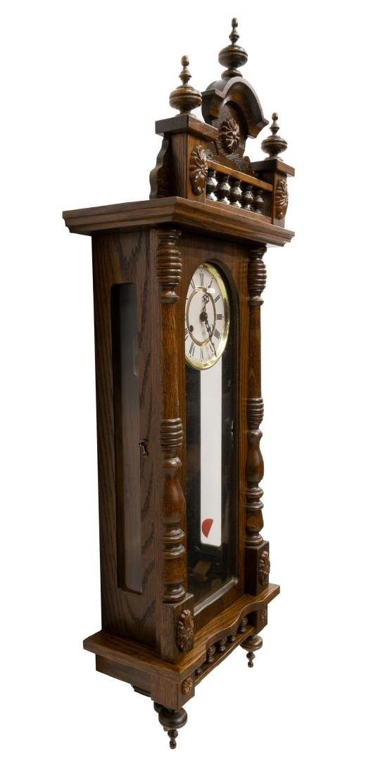 GERMAN TIME & STRIKE SPINDLED OAK WALL CLOCK - 2