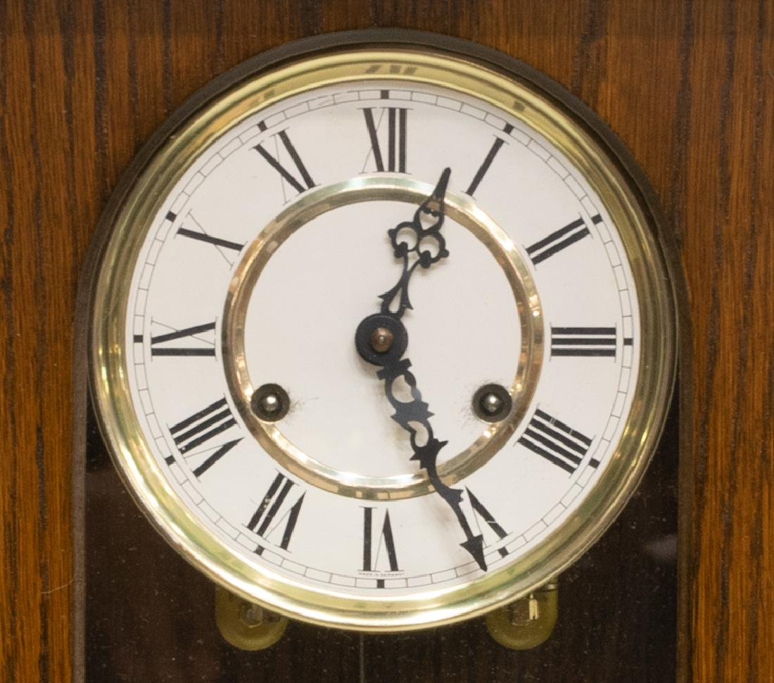 GERMAN TIME & STRIKE SPINDLED OAK WALL CLOCK - 3
